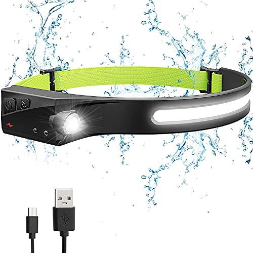 Linterna Frontal led Recargable, USB 5 Modos de Luz, Ajustable Impermeable IPX4 para Niños y Adultos, para Camping, Excursión,Pesca,Carrera,Ciclismo [Clase de eficiencia energética A+++]