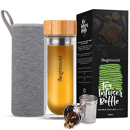 WeightWorld Teeflasche mit Sieb to Go - 500ml Thermo Tee Flasche aus Borosilikat Glas doppelwandig - Tea Infuser mit Bambus Schraubverschluss & Edelstahl Sieb - Inklusive Neopren Hülle
