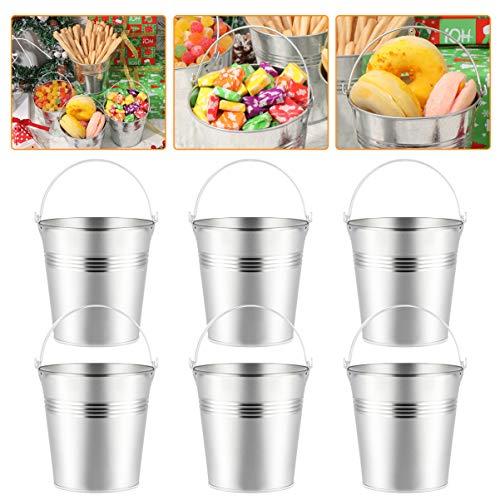 Toyvian Mini Weißblech Metall Eimer 12 Stück Blecheimer mit Griff für Süßigkeiten Pommes Frites Party Bevorzugungen