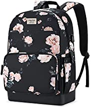 MOSISO 15.6-16 inch Laptop Backpack for Women Girls, Polyester Anti-Theft Stylish Casual Daypack Bag with Luggage Strap & USB Charging Port, Camellia Travel Business College School Bookbag, Black