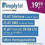 Handyvertrag simplyTEL LTE 20000 - ohne Vertragslaufzeit (FLAT Internet 20 GB LTE mit max. 50 MBit/s mit deaktivierbarer Datenautomatik, FLAT Handyie, FLAT SMS & EU-Ausland, 19,99 Euro/Monat)