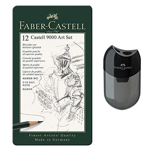Faber-Castell Bleistift Castell 9000 12er Art Set | inkl. Doppelanspitzer