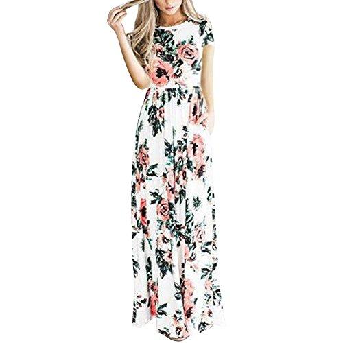 Sommerkleider Damen Elegant Strandkleid Blumen Boho Split Lang V-Ausschnitt Beachwear Abendkleid , Nude-kurz - XXL (EU 42-44)