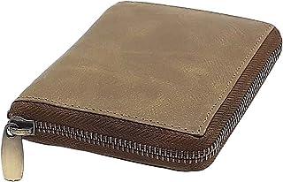 Cartera de mujer elegante con cremallera de piel de búfalo auténtica, con muchos compartimentos para tarjetas de crédito, ...