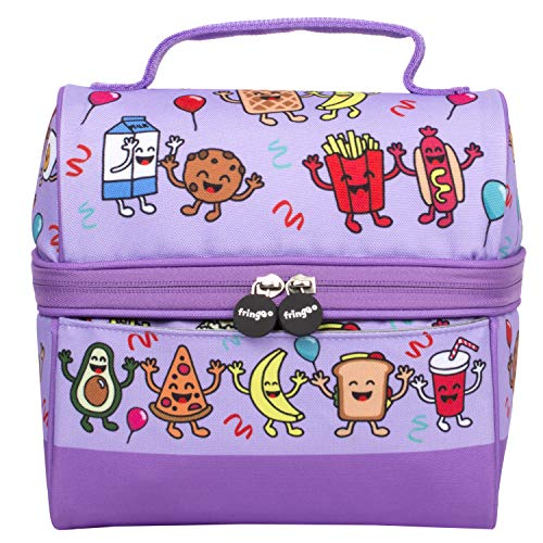 FRINGOO Boys Girls Lunch Bag Thermal Insulated Retro Food Carrier School Lunch Box for Kids Nursery Lunchie Picnic (Conga Line Food)