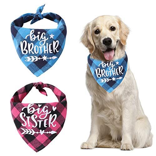 HACRAHO Geruite Hond Bandana, 2 STKS Driehoek Slabbetjes Sjaal Grote Broer Grote Zus Zwangerschap Aankondiging Hond Bandana voor Kleine Medium Grote Honden