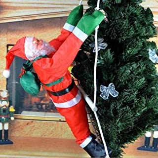 new.LM. Climbing Santa with Rope Ladder Outdoor Christmas Decoration 15.7 inch