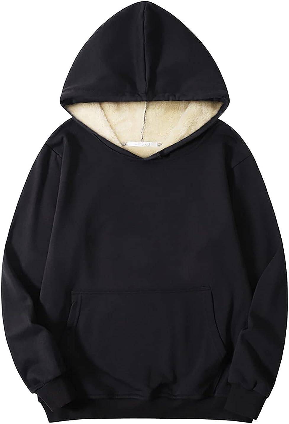 Kissonic Men's Thermal Ranking TOP15 Sherpa Lined Sweatshirt Fleece Ath Charlotte Mall Hoodie