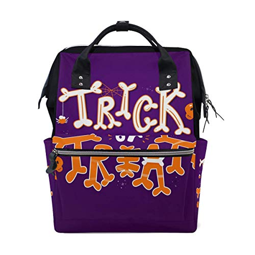 NHJYU Halloween Trick Treat Travel Sac à dos Large Nappy Sac à langer Laptop Sac à doss for Women Men