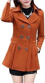 Macondoo Women Warm Double Breasted Woolen Winter Overcoat Pea Coat Jacket