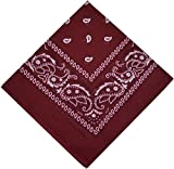 Pañuelo bandana para el cuello, para moteros, Nikki, cachemira, 100% algodón, 25 colores, borgoña, Talla única
