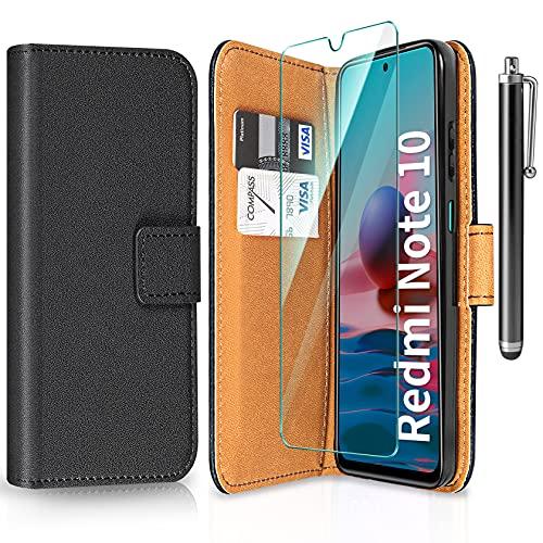 ivencase Funda Compatible con Xiaomi Redmi Note 10 con Protector de Pantalla y bolígrafo, Libro Caso Cubierta la Tapa magnética Protector de Billetera Cuero de la PU Carcasa - Negro