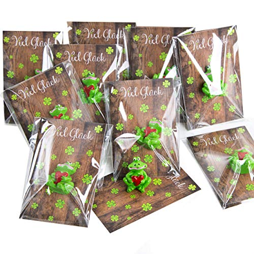 Logbuch-Verlag 10 fertig verpackte Gastgeschenke kleine Glücksbringer Frösche grün mit Karte VIEL GLÜCK Holz-Optik Kleeblätter Silvester Neujahr Prüfung