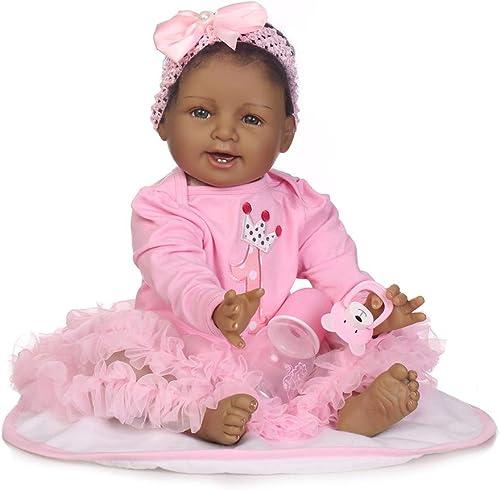 HWBB Realistische wiedergeborene Babypuppe 22   5cm Lebensechte Größe Tr e Geschenkset Stoff  simulation Baby Weiße Silikon Wiedergeburtspuppe Sicherheit getestet für Alter 3 + Spielzeug