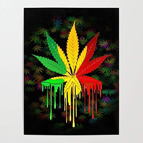 Puzzle 1000 piezas Color goteo arte abstracto imagen hoja de cannabis puzzle 1000 piezas Rompecabezas de juguete de descompresión intelectual educativo divertido juego familia50x75cm(20x30inch)