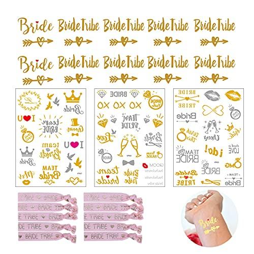 Bride Tattoo, tatuaje de la novia, tatuaje de la tribu de la novia, tatuaje de la novia del equipo metálico dorado y pulseras para la despedida de soltera y el día de la boda
