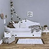 LULU MÖBEL Cama infantil SOPHIE 180x80 cm para niños con colchón de coco y cajón, habitación infantil, cama de madera, color blanco.