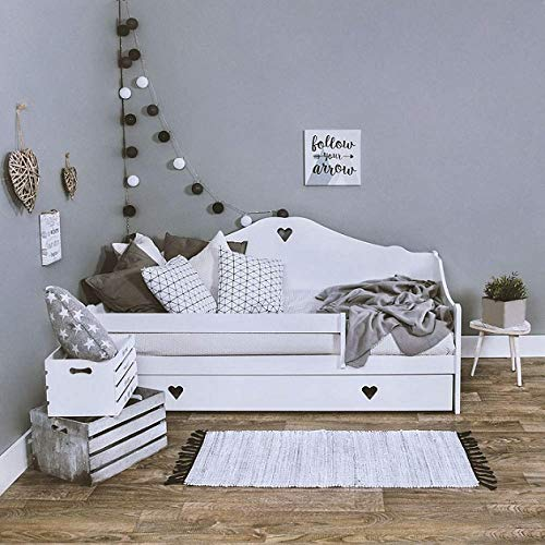 LULU MÖBELSOPHIE - Cama infantil completa con colchón de 160 x 80 cm y somier y cajón, para niños a partir de 2 años, color blanco