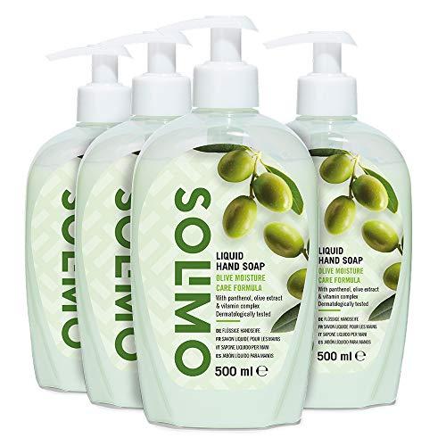 Marca Amazon - Solimo Jabón líquido para manos. Fórmula hidratante de oliva- Paquete de 4 (4 Botellas x 500ml)