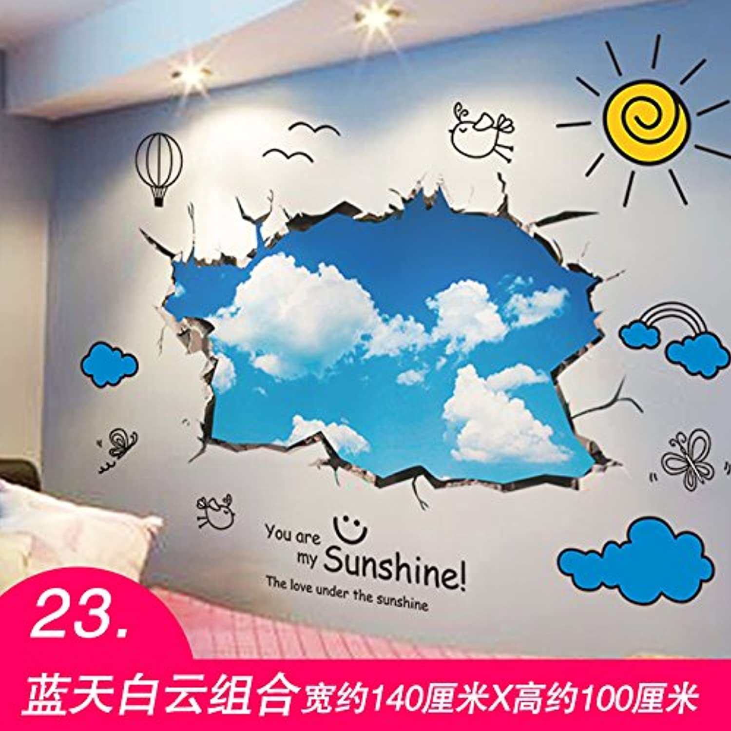 Znzbzt The Creative Wall Sticker self Adhesive Bedroom Wall Art Painting Decorative 3D Wall Paper, Lantian Baiyun, King