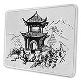 Altes China-niedliches Mauspad Hand gezeichnete Schwarzweiss-Skizze eines chinesischen Pavillons mit Landschaft personalisiertes Design-Computer-Mauspad Schwarz-Weiß