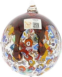 glassofvenice veneciano de cristal de Murano mosaico adorno de Navidad–rojo