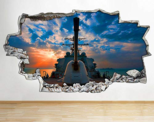 Adhesivo decorativo para pared, diseño de nave, nave, ejército, armas de guerra, decoración en 3D