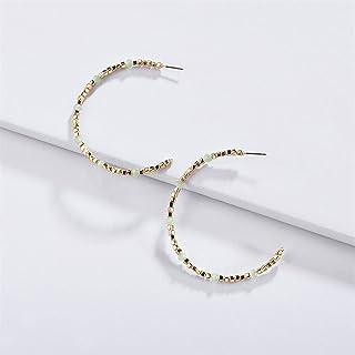 بوتيك الأزياء التبعي تصميم بسيط أقراط صغيرة هوب كبيرة كريستال الخرز الأذن هوب هوب هوب هوب يانغين (اللون: شفاف)