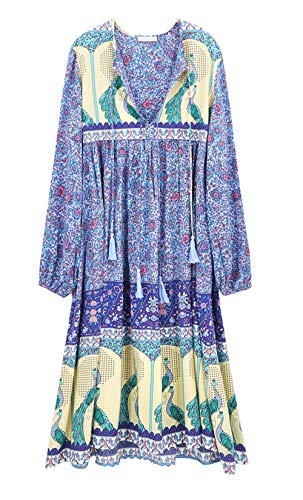 R.Vivimos Women's Long Sleeve Floral Print Retro V Neck Tassel Bohemian Midi Dresses (Medium, Blue)