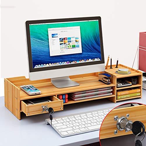 UYASDASFAFGS Bambus 2-tiier Bildschirmständer,Multimedia Computer Monitorständer Schreibtisch Organizer Platz Sparen Bildschirmerhöhung Für Imac Drucker Notebook-i