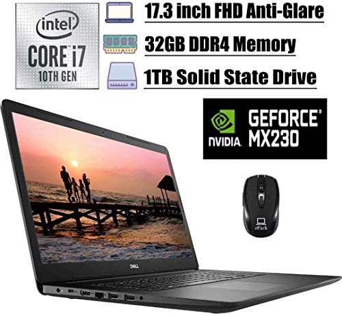 2020 Premium Dell Inspiron 17 3793 3000 Laptop, 17.3 inch FHD Anti-Glare, 10th Gen Intel Quad-Core i7-1065G7, 32GB DDR4 1TB SSD, 2GB MX230 MaxxAudio WiFi USB-C HDMI Win 10 + ePark Wireless Mouse