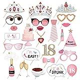 Gkdki Fotomatón de Cumpleaños, 18 Cumpleaños Foto Props Feliz, Kit de Accesorios para Fiesta de cumpleaños número 18 para Sus niñas, Suministros para Fiestas, decoración y favores