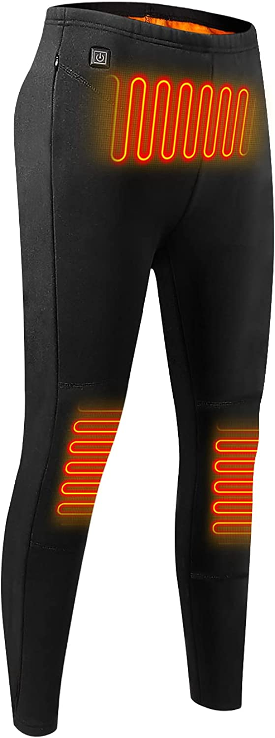 Heated Pants Thermal Underwear for Men, Electric USB Heating Base Layer Fleece Lined for Indoor Outdoor (No Battery)