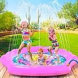 PRINCESSEA Emma USA 4-IN-1 Splash Pad - XXL 70' Outdoor Water Sprinkler for Kids - Summer Wading Pool & Splash Pad for Girls - Inflatable Kiddie Pool With Sprinkler, Water Toys for Toddlers 1year & up