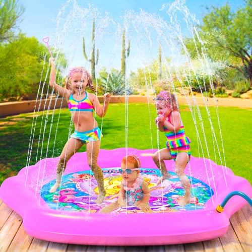 PRINCESSEA Emma USA 4-in-1 Splash Pad - XXL 70' Outdoor Water Mat for Kids - Summer Splash Pad...