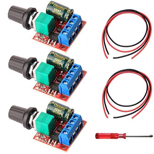Gebildet 3pcs DC 5V-35V 5A Mini DC Motor PWM Velocidad Controlador, Interruptor Ajustable del Velocidad, 6V 12V 24V Regulador de Voltaje Variable con Indicador LED