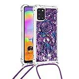 Funda cruzada para Samsung Galaxy A72 5G con cordón ajustable cuerda desmontable, purpurina líquida, cuerda flotante de arena movediza, correa de silicona que fluye delgada, carillones de viento
