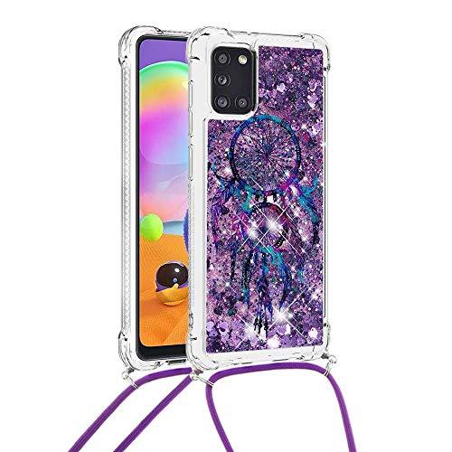 Funda cruzada para Samsung Galaxy M31 con cordón ajustable cuerda desmontable, purpurina líquida, cuerda flotante de arena movediza, correa de silicona que fluye delgada, carillones de viento
