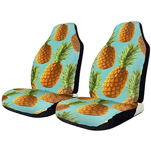 Island Pineapple Tropic Fruit patroon Pop Art Front autostoelhoezen Soft polyester autostoelhoezen Fit Auto vrachtwagen van SUV
