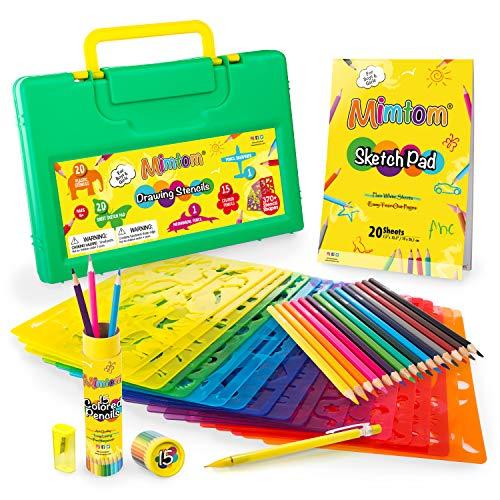 Mimtom Plantillas de Dibujo Kit de Manualidades para niños con 370 Figuras | Plantillas para Pintar Que desarrollan la Creatividad | Desde los 4 años