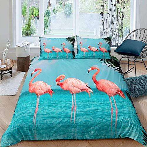 QIMGIC Juego De Cama 3 Piezas Flamingo Animal Mar Paisaje Palmera Planta 150X220 Cm Con 2 Fundas De...