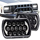 SPL Nice Looking 5''x7' 7''x'6' Projector Cree LED Headlights with DRL for Jeep Wrangler YJ Cherokee XJ H6054 H5054 H6054LL 69822 6052 (Black Pair)
