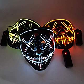 Halloween Luminous Mask Party Cold Light V Vendetta with Blood Handmade LED Flash Mask
