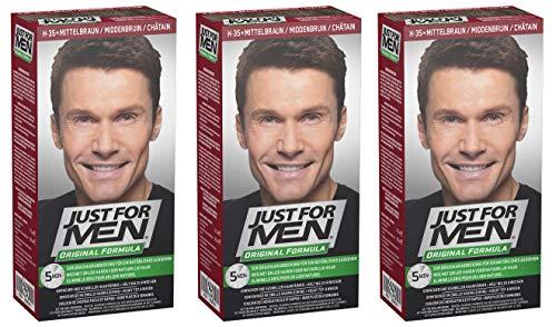 Just for Men - H35 -  Haarfärbemittel, Pflege Tönungs Shampoo, Natur Mittelbraun, 3er Pack