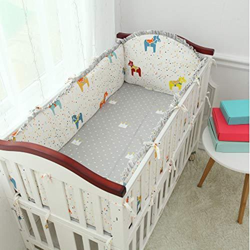 Protège-pare-chocs pour lit de bébé, collection Cotton, pour berceaux standard Doublure de berceau rembourré lavable en machine pour bébé garçon, 5 pièces