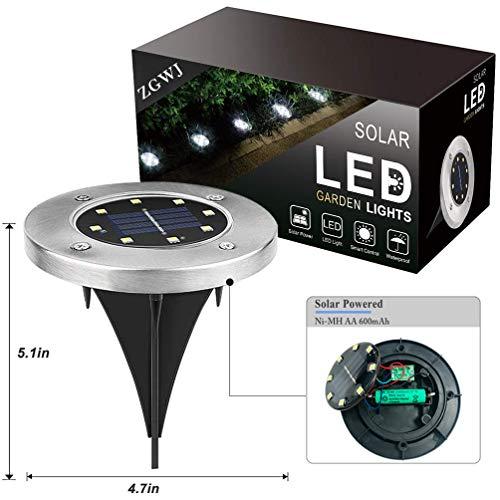ZGWJ Solar Ground Lights,8 LED Disk Lights Upgraded Outdoor Garden Lights Landscape Lights for Lawn Pathway Yard Deck Patio Walkway (White)
