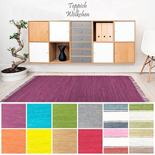 Handweb Flicken-Teppich aus Baumwolle   Geflochtene Indische Fleckerl Kelim Teppiche fürs Wohnzimmer, Küche, Schlafzimmer, Bad oder Flur Läufer  Einfarbig Bunt (Violett, 40 x 60 cm)