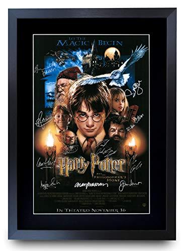 HWC Trading Gedrucktes Autogramm Bild mit Harry Potter und der Stein der Weisen, mit der Besetzung: Daniel Radcliffe, Emma Watson und Rupert Grint, für Film-Fans, DIN A3, gerahmt