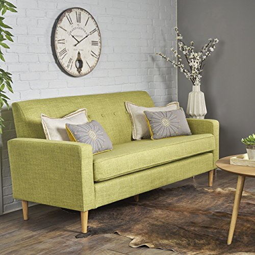 Christopher Knight Home Stratford Mid Century Modern Muted Green Fabric 3 Seater Sofa