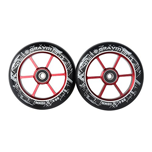 GRAVITI One Pair 110mm Pro Stunt Scooter Wheels with ABEC-9 Bearings CNC Metal Core (2pcs) (red)